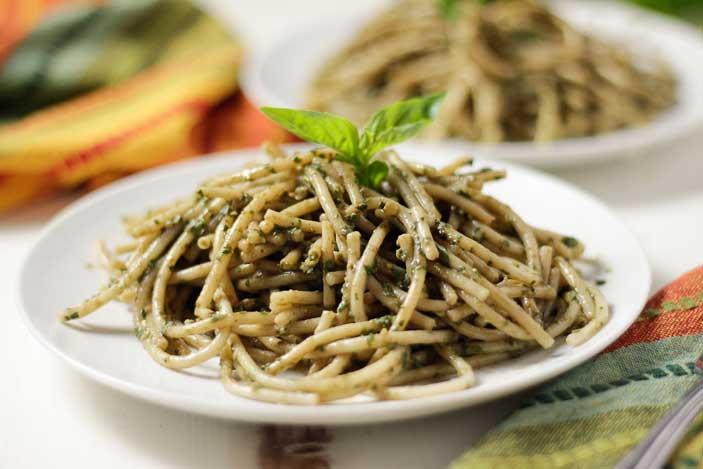 Pasta with Oil-Free Pesto