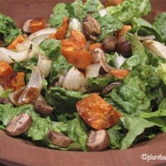 Roasted Yam, Onion and Mushroom Salad