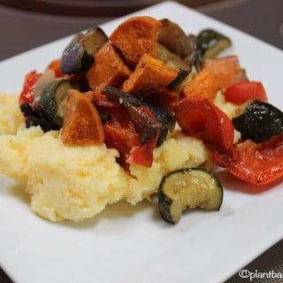 Roasted Balsamic Veggies with Polenta