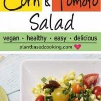 Corn Tomato Salad on white serving platter