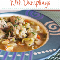 Irish Cabbage Potato Soup with Dumplings served in decorative blue bowl