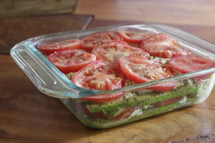 Creamy Noodle-less Zucchini Tomato Lasanga