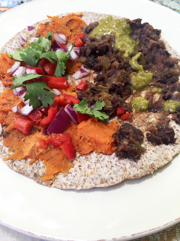 ... quesadilla. I added chopped red onion, red pepper, cilantro and