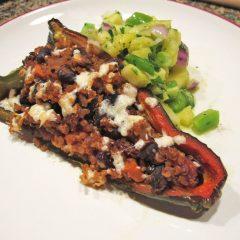 Quinoa, Black Bean Stuffed Poblanos
