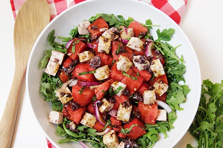 Watermelon Tofu Feta Salad