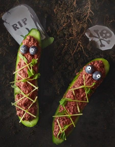 vegan halloween spooky raw cucumber coffins