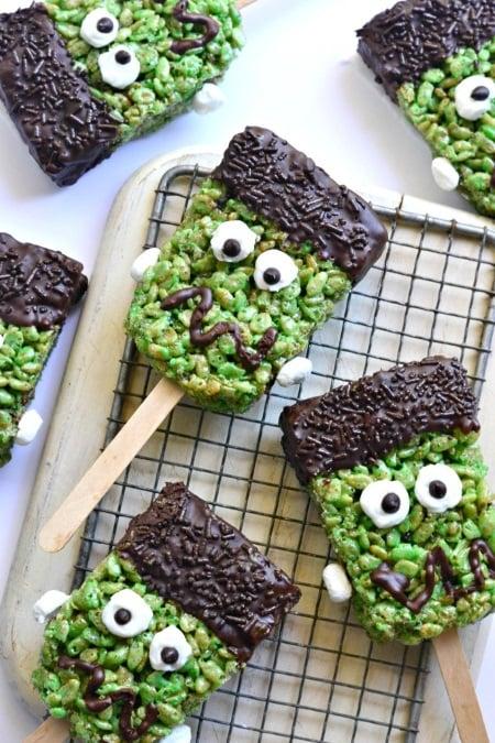 vegan halloween Frankenstein Krispie Treats