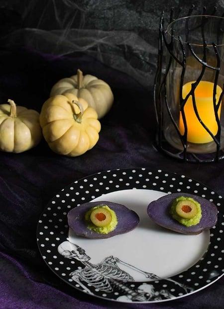 vegan halloween spooky halloween purple potato eyes.
