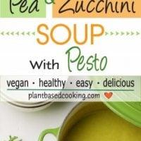 Spring Asparagus, Pea, Zucchini Soup with Pesto