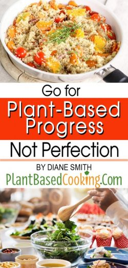 "fry pan with plant-based food, text overlay ""Go for plant-based progress not perfection"""