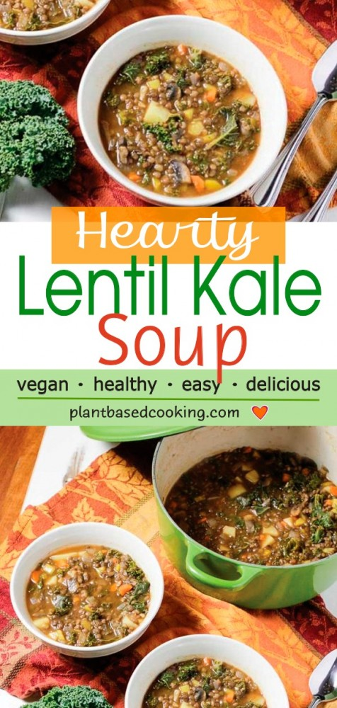 Hearty lentil kale soup being served from green pot to white bowl