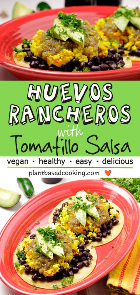 Huevos Rancheros with Tomatillo Salsa served on vegan tacos on red plate