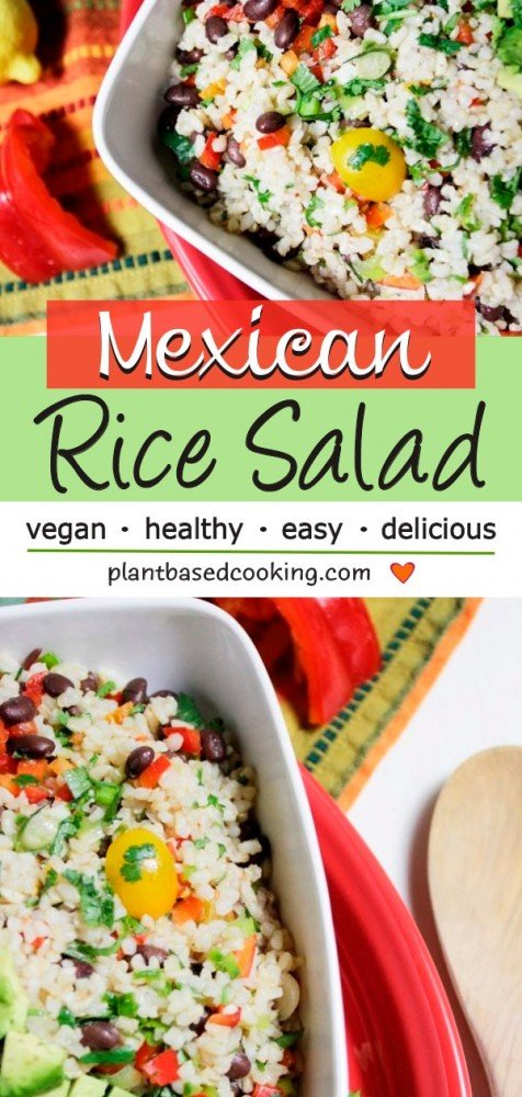 vegan Mexican Rice Salad in white serving dish
