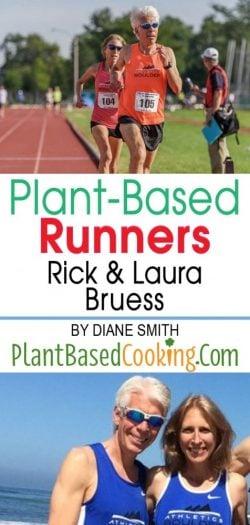 Plant based runners Rick and Laura Bruess running in marathon