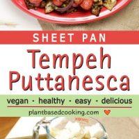 Sheet Pan Tempeh Puttanesca on a red platter