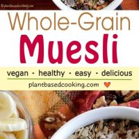 Whole Grain Muesli in white bowl and sliced bananas