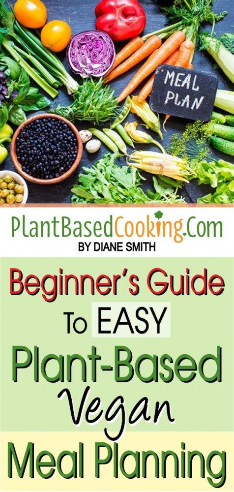 Healthy, vegan friendly vegetables spread out on black surface with Text Beginner's guide to easy plant based vegan meal planning