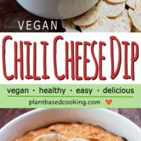 Vegan chili cheese dip in white bowl with chips