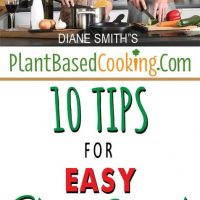 "man and woman in kitchen cooking with text over lay ""10 tips for easy plant-based kitchen cleanup"""