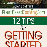 """woman holding basket of fresh harvest vegetables with text overlay """"12 tips for getting started on a plant based diet"""""""