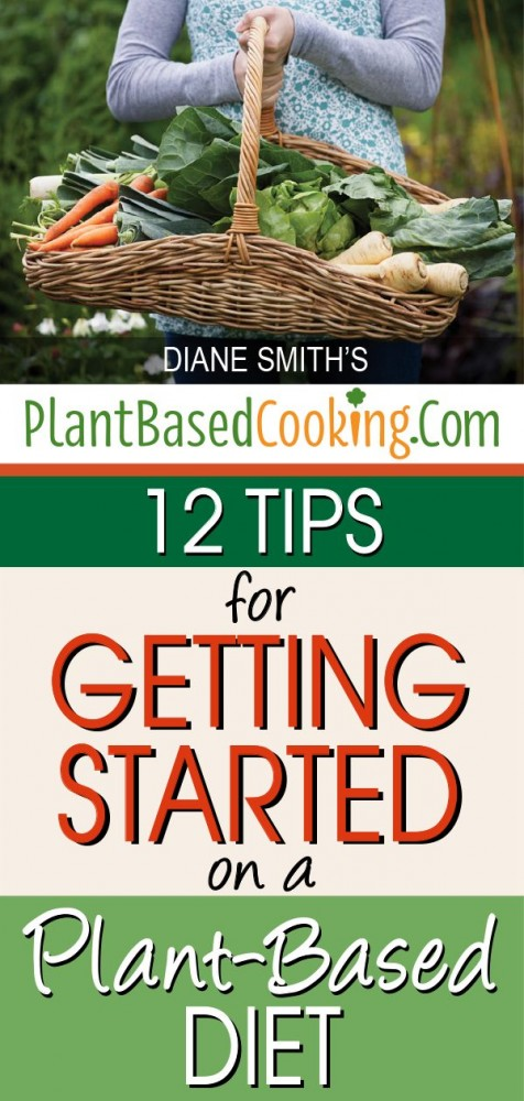 "woman holding basket of fresh harvest vegetables with text overlay ""12 tips for getting started on a plant based diet"""