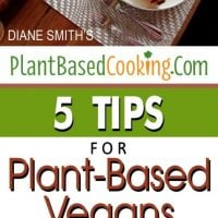 """place setting with text overlay """"5 tips for plant based vegans on turkey day"""""""