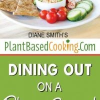 "plate with fresh veggies and dip with text overlay ""Dining out on a plant based diet"""