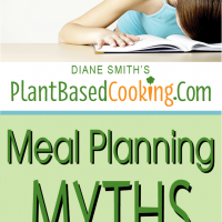 """women sitting at table with head down on notebook with text overlay """"Meal planning myths and how to avoid them"""""""