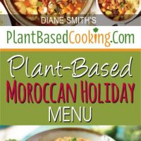 "pot of Chickpea Vegetable Tagine with text overlay ""Plant-based Moroccan Holiday menu"""