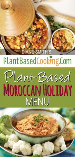 """pot of Chickpea Vegetable Tagine with text overlay """"Plant-based Moroccan Holiday menu"""""""