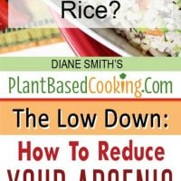 """bowl of rice with text layover """"What About Arsenic in Rice? The Low Down: How to Reduce your Arsenic Exposure"""""""