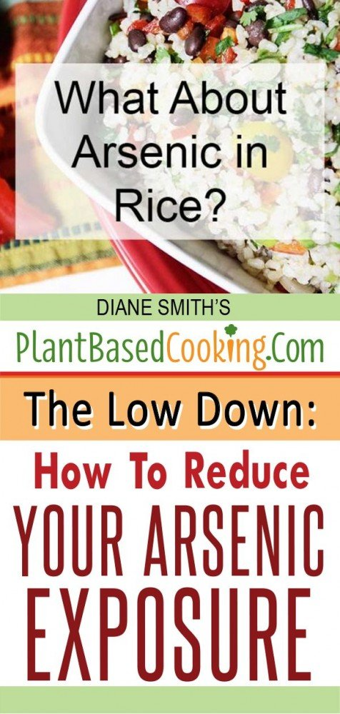 "bowl of rice with text layover ""What About Arsenic in Rice? The Low Down: How to Reduce your Arsenic Exposure"""
