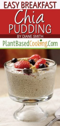 """""""Easy Breakfast Chia Pudding"""" topped with berries and walnuts"""