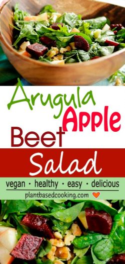 Arugula, apple-beet salad