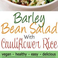 Barley Bean Salad with Cauliflower Rice in white bowl on white saucer