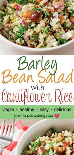 Barley Bean Salad with Cauliflower Rice in white bowl on white saucer