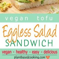 Tofu Eggless Salad Sandwich on slice bread topped with sprouts