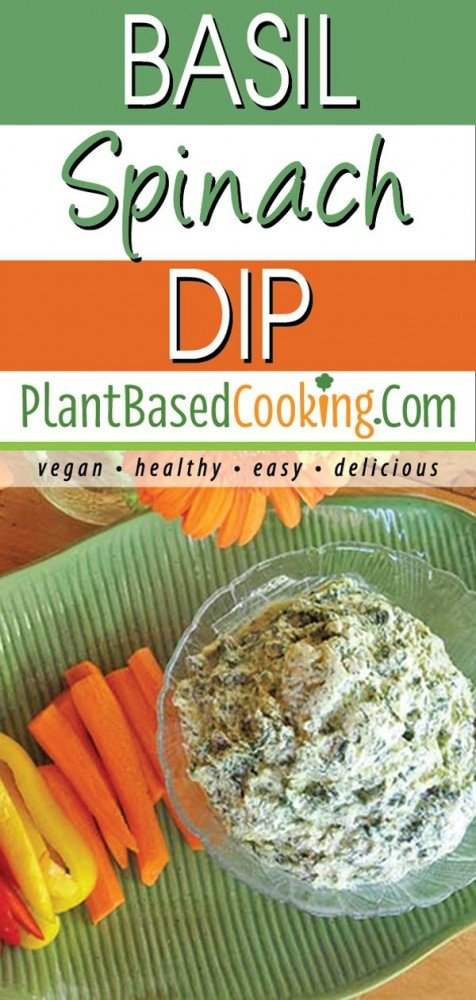 Basil spinach dip served with carrots and peppers
