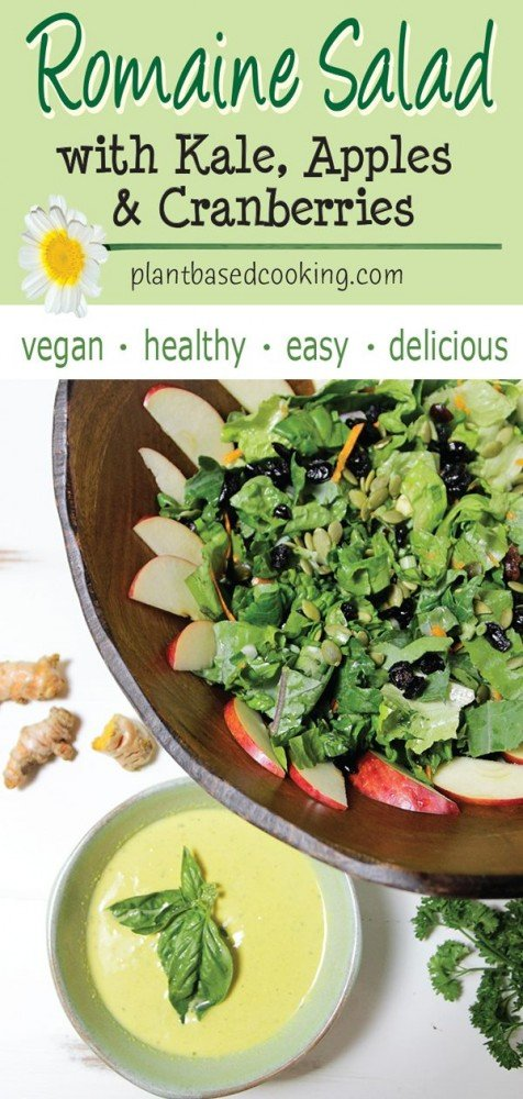 Romaine Salad with Kale, Apples & Cranberries