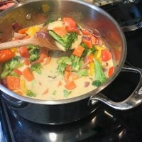 Thai Coconut curry in a large pot on the stove