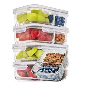 Divided Glass Meal Prep Continers with Lids