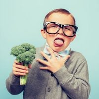 Boy heates broccoli