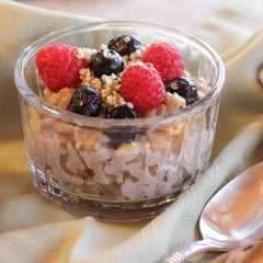 Rice Pudding, Raspberrries, blueberries