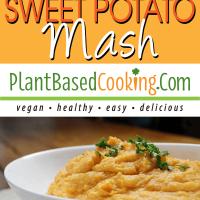 Cauliflower Sweet Potato Mash in white serving dish