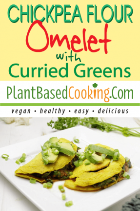 CHICKPEA FLOUR OMELET WITH CURRIED GREENS on white square plate