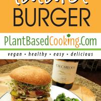 plant-based falafel burger served with crispy baked kale chips