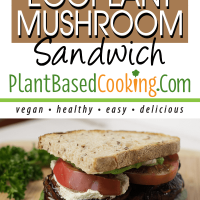 Grilled eggplant mushroom sandwhich topped with sliced tomato