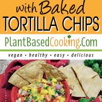 mango salsa with Baked Tortilla Chips served in red ramikin, whole jalepeno