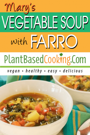 This Mary's Vegetable Soup with farro served in white bowl