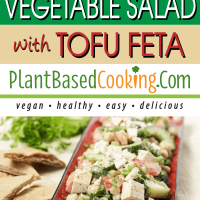 Middle Eastern Vegetable Salad with tofu feta served on red platter